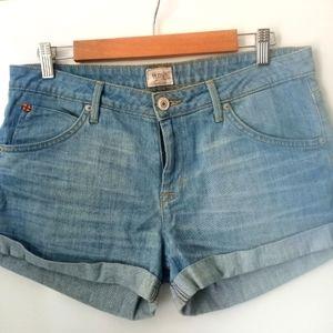 Hudson Denim Shorts with Rolled Cuff 5 Pockets